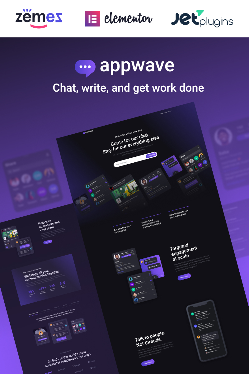 "Template WordPress Responsive #88618 ""Appwave - Innovative and Stylish App Landing Page"""