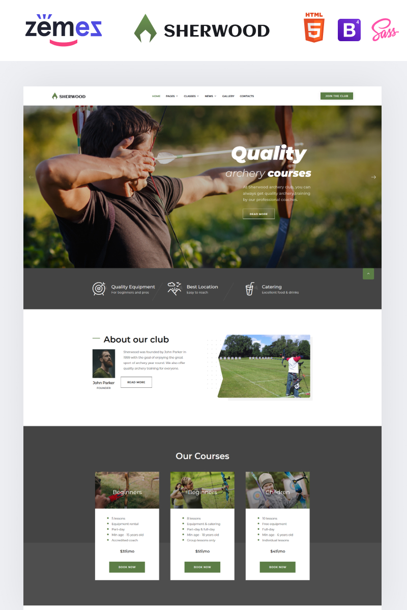 "Website Vorlage namens ""Sherwood - Archery Multipage Clean HTML"" #88638"