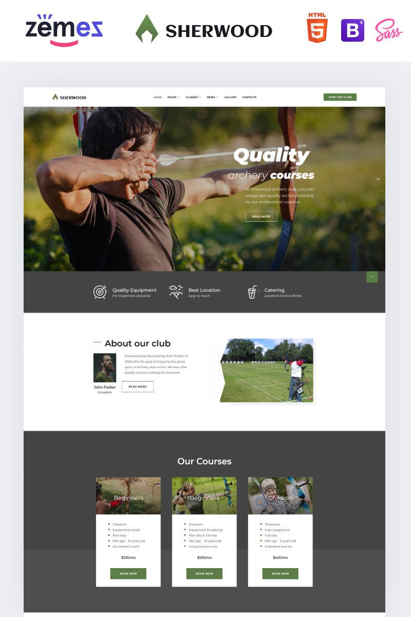 "Website Vorlage namens ""Sherwood - Archery Multipage Clean HTML"" #88638 - Screenshot"