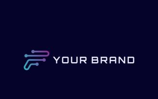 Letter F Technology Design Logo Template