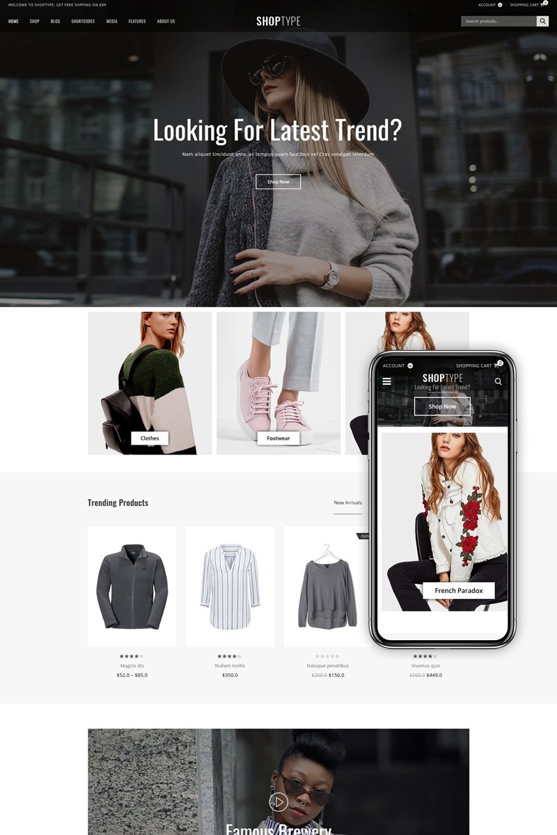 """ShopType - Fashion Store"" 响应式WooCommerce模板 #88778"