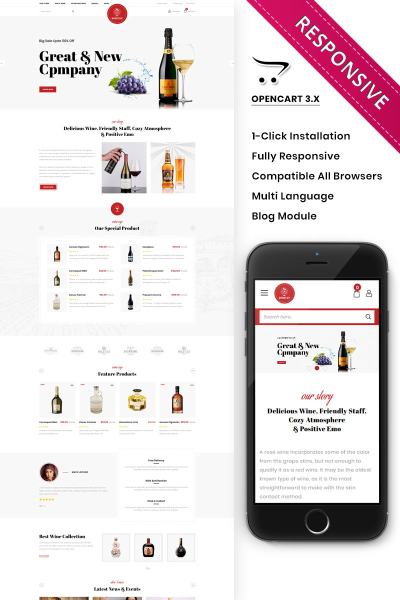 """Winecup - The Alchohol Store"" Responsive OpenCart Template №88777"