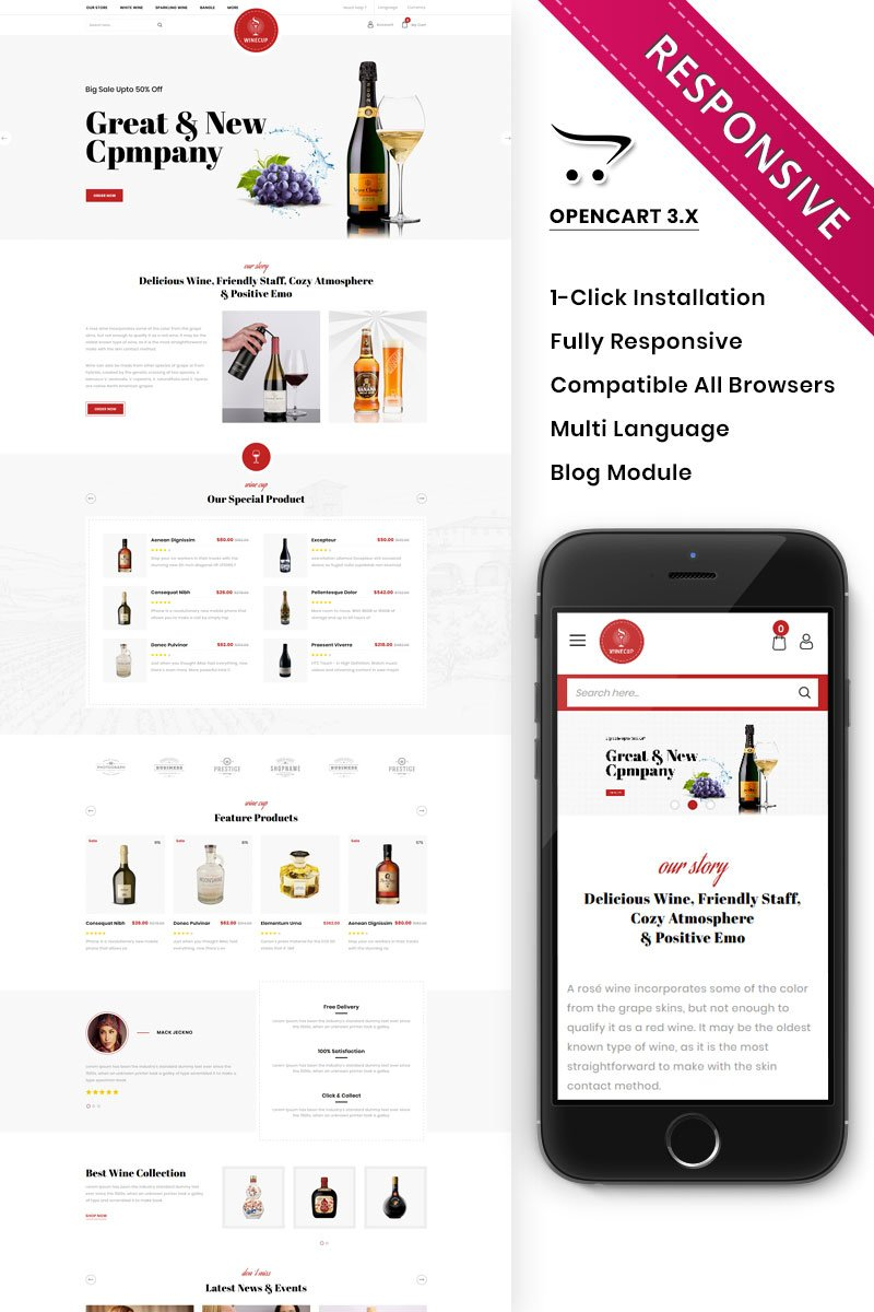 """Winecup - The Alchohol Store"" thème OpenCart adaptatif #88777"