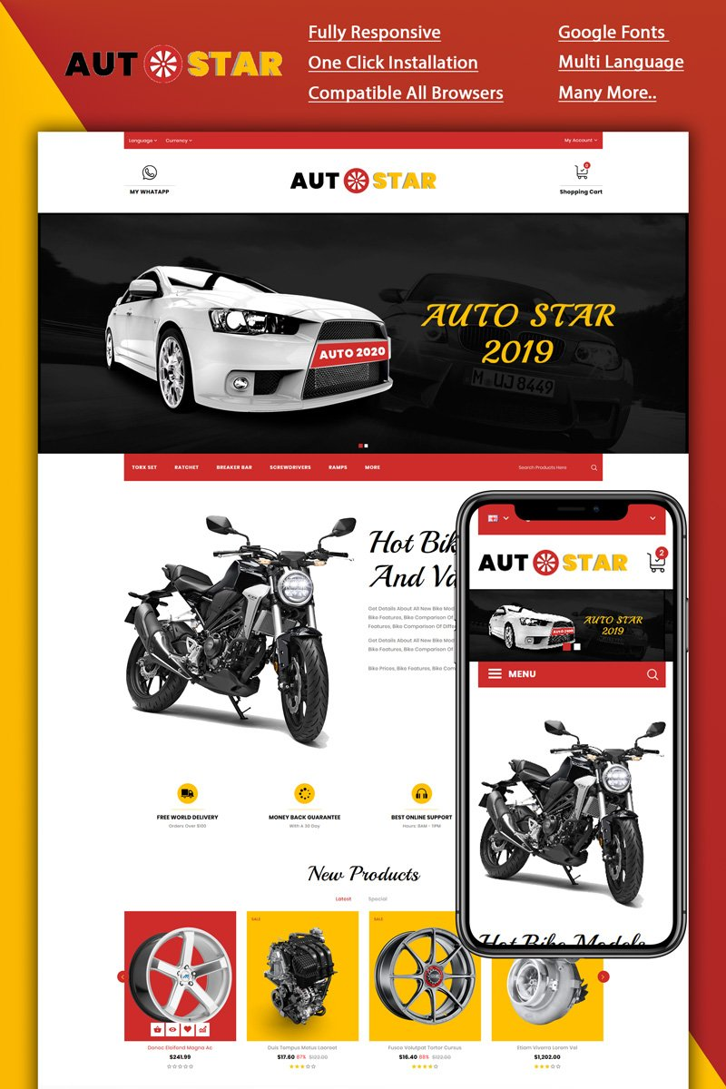 """Autostar -Carparts Store"" Responsive OpenCart Template №88848"