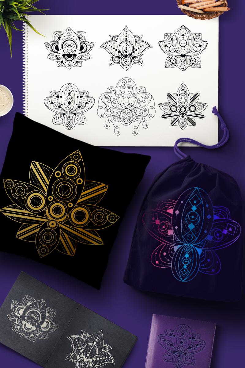 """""""Geometric Lotuses Set"""" Illustration №88887"""
