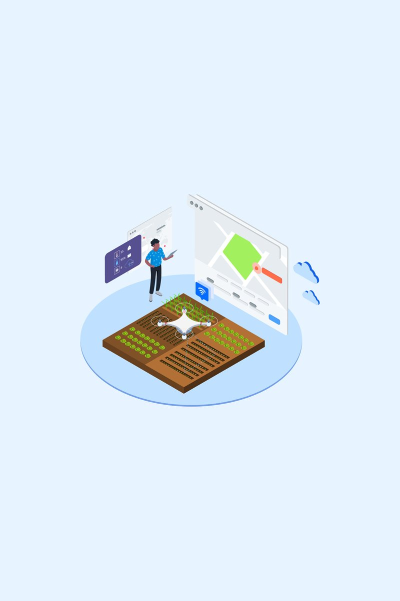 "Illustration namens ""Automatic Watering with Drones Isometric 2 - T2"" #88875"