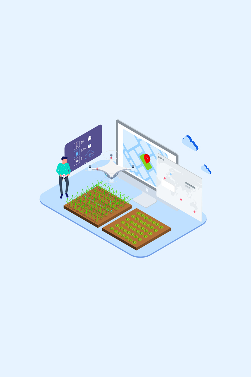 """Ilustrace """"Automatic Watering with Drones Isometric 1 - T2"""" #88876"""