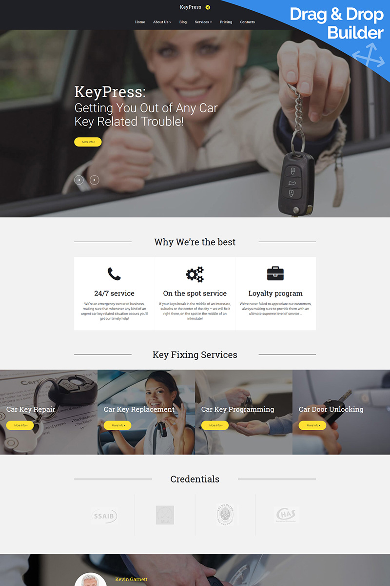 """KeyPress - Car Key Replacement"" Responsive Moto CMS 3 Template №88800"
