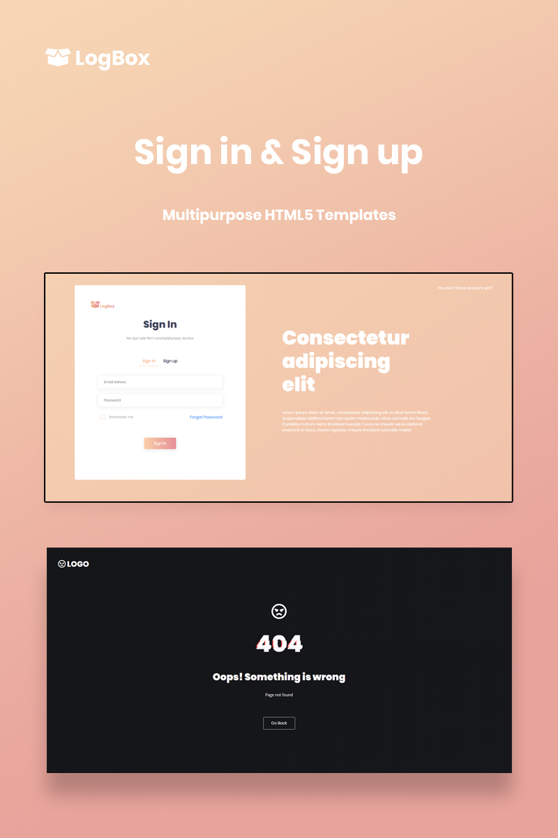 """LogBox - Sign in & Sign up HTML5 Template"" page de spécialité adaptatif #88801"