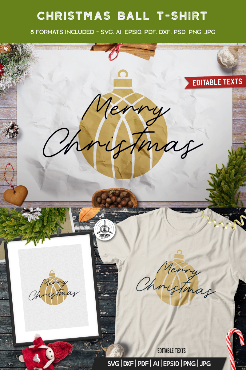 Merry Christmas Ball T-shirt 88855