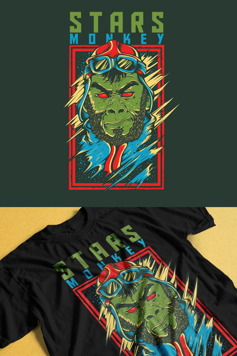 Stars Monkey Design T-shirt