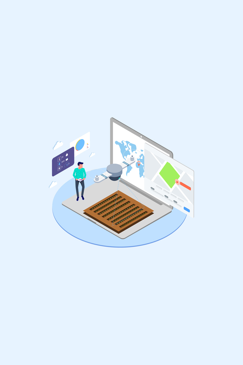 """Template Illustrazione #88870 """"Automatic Watering with Drones Isometric 3 - T2"""""""