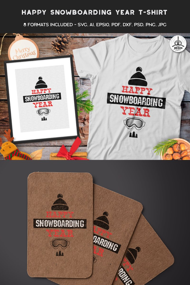 "Template T-shirt #88852 ""Happy Snowboarding Year"""