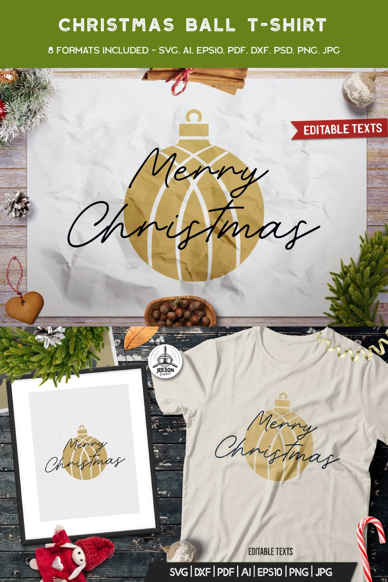 "Template T-shirt #88855 ""Merry Christmas Ball"""