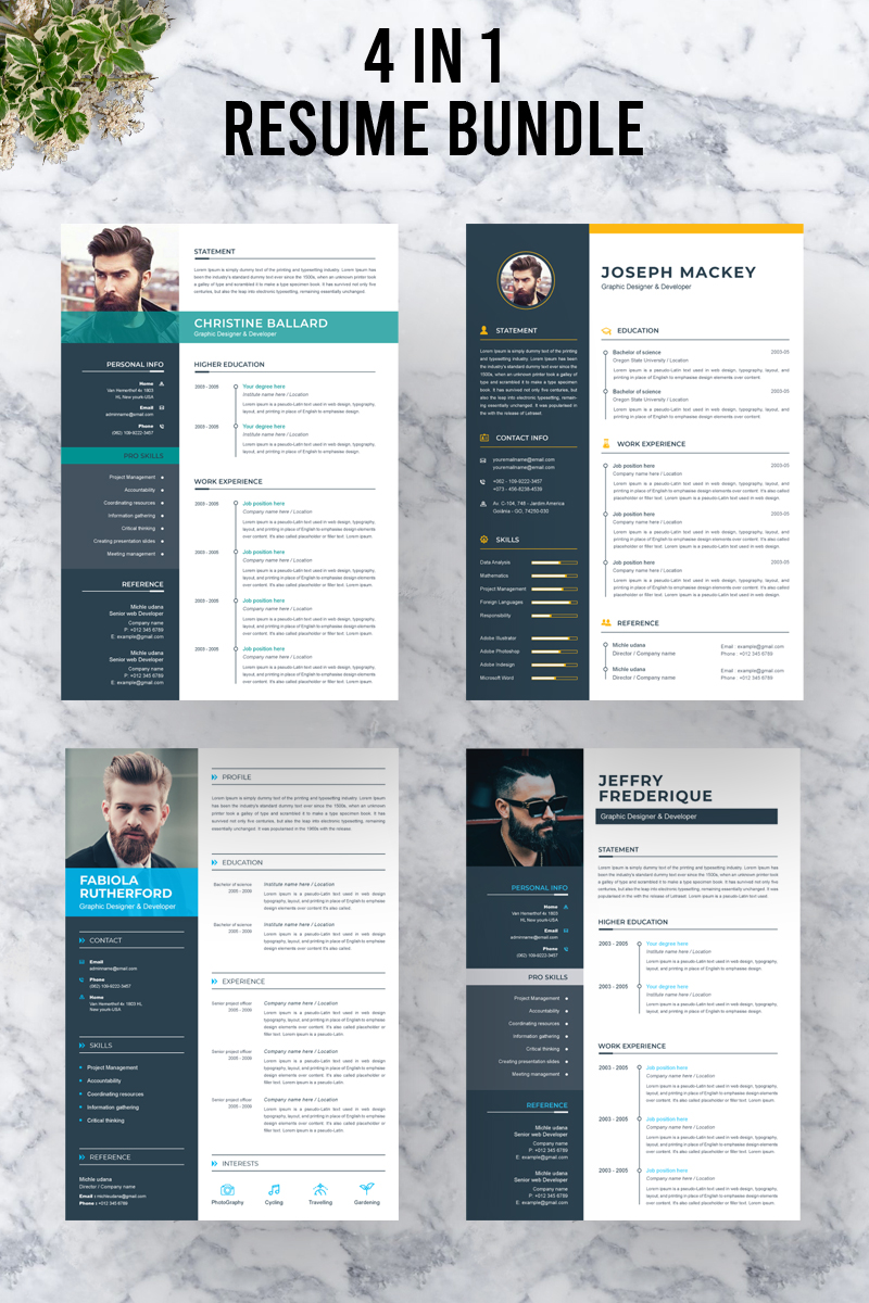"""Bundle"" Responsive CV Template №88988"