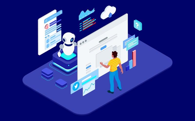 Human Chatting on Chatbot Application Isometric - T2 Illustration
