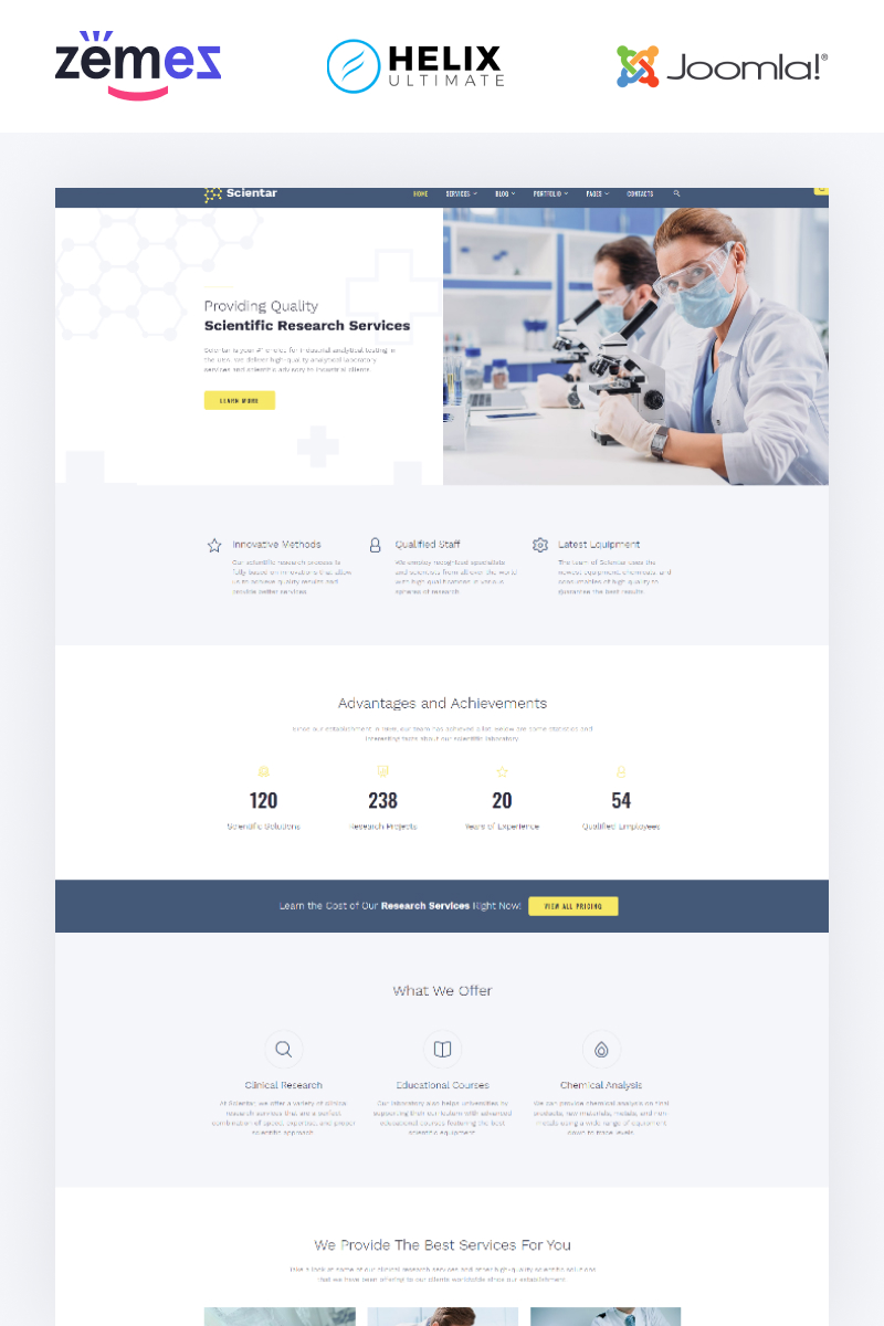 "Modello Joomla Responsive #88910 ""Scientar - Science Lab Multipage"""