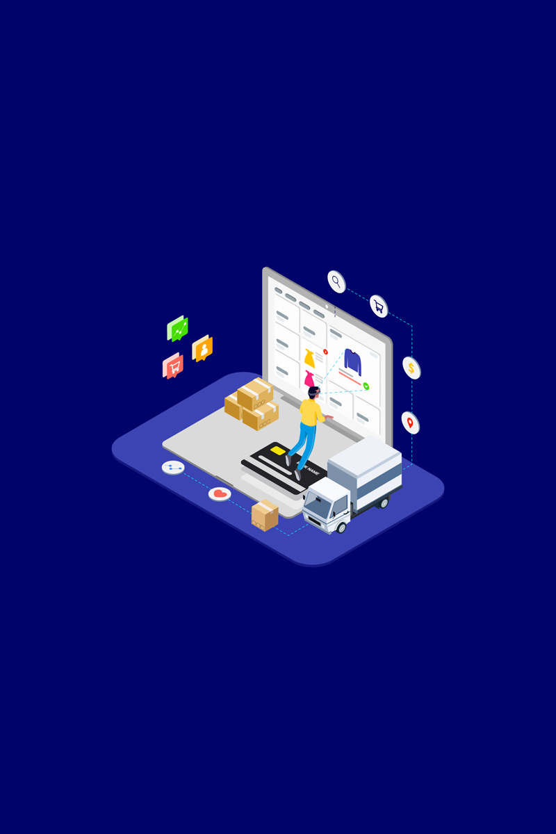 Shopping Online with VR Isometric 1 - T2 Illustration
