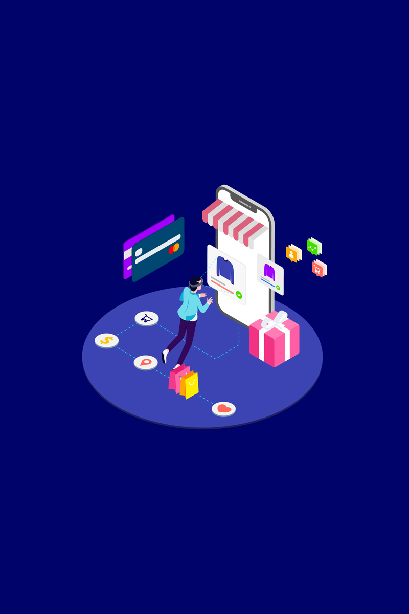 """Shopping Online with VR Isometric 2 - T2"" illustration  #88949"