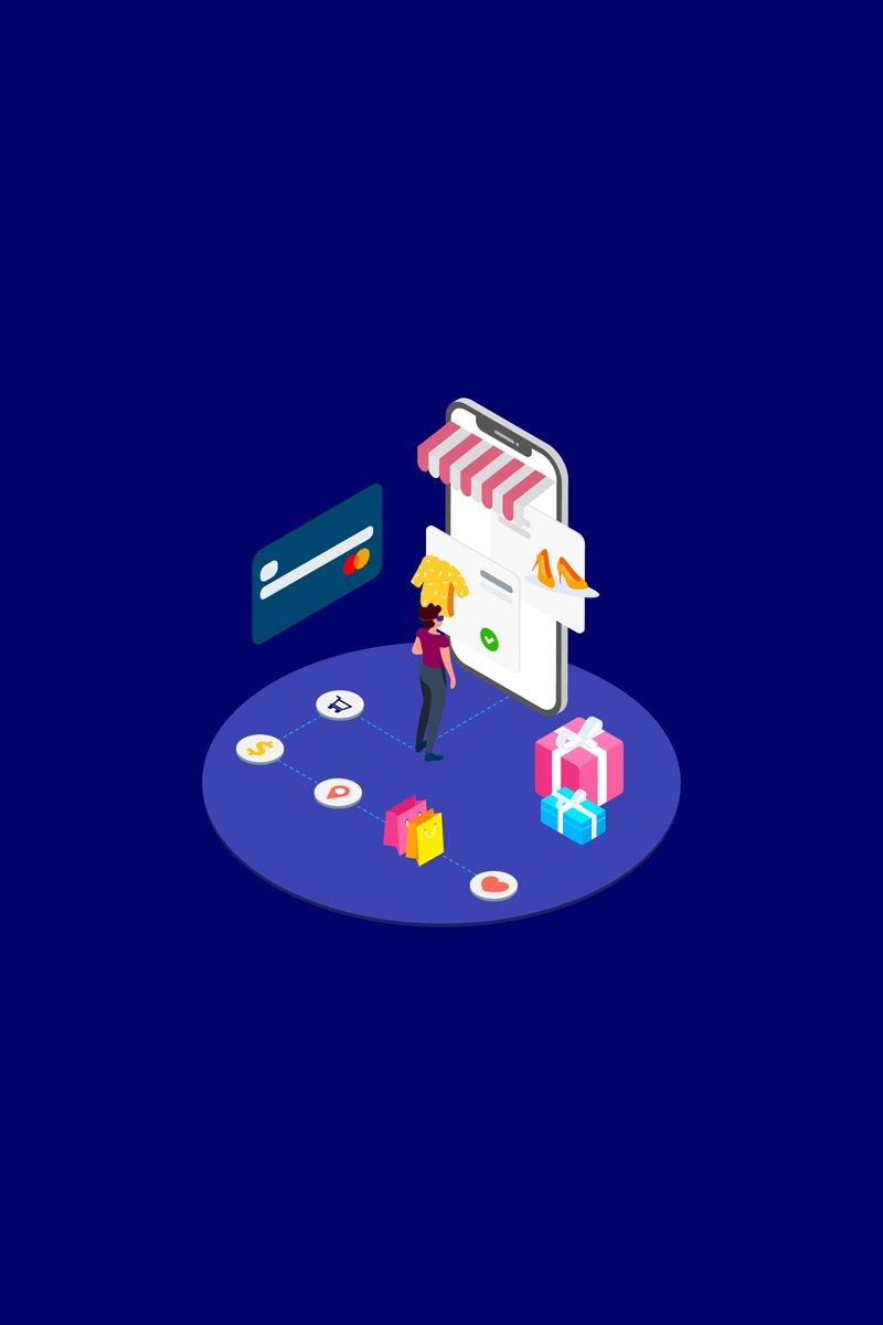 Shopping Online with VR Isometric 3 - T2 Illustration