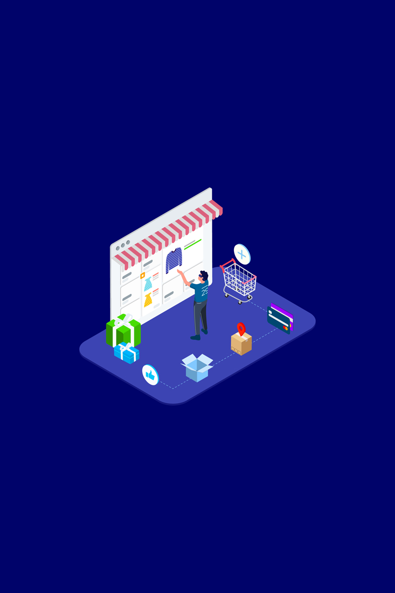 Shopping Online with VR Isometric 4 - T2 Illustration