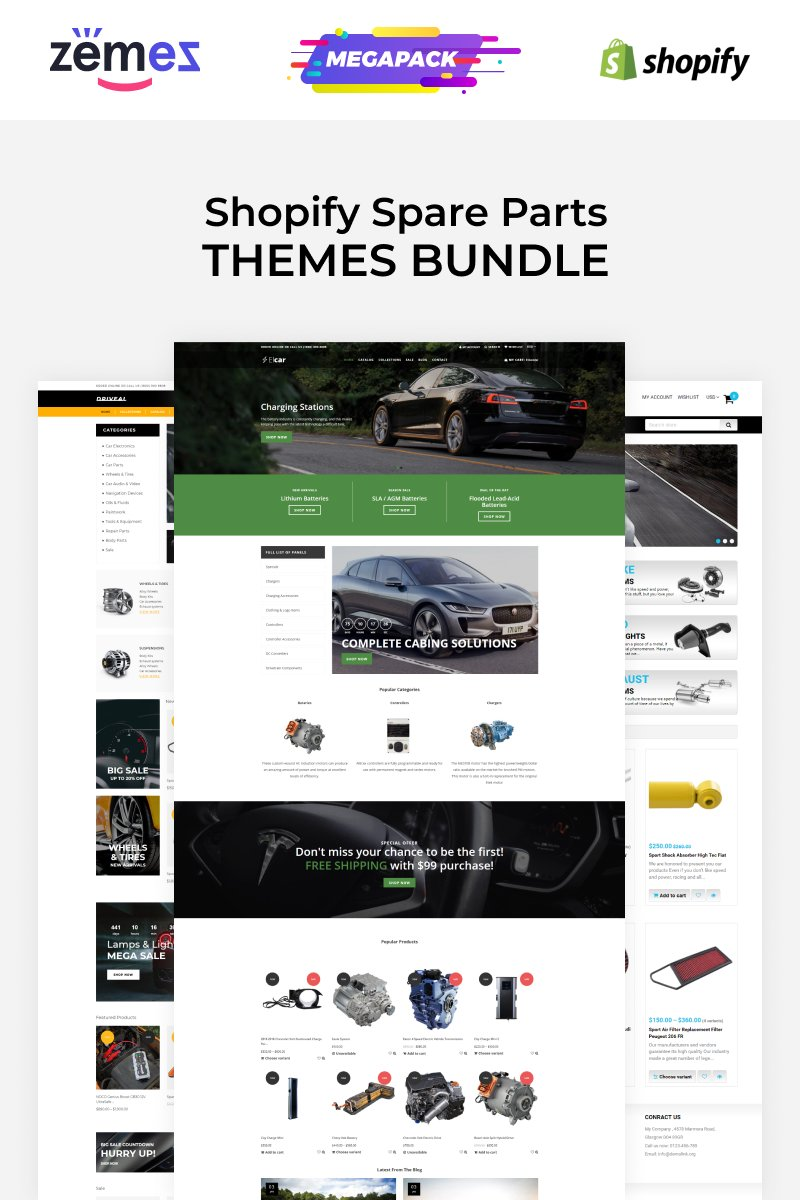 "Tema Shopify ""Spare Parts Themes Carromi"" #88931"