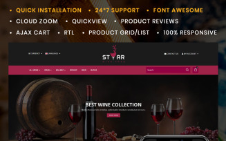 Star The Wine Store OpenCart Template