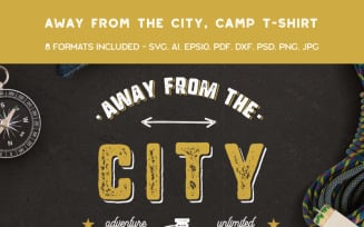 Away From The City, Camping Retro - T-shirt Design