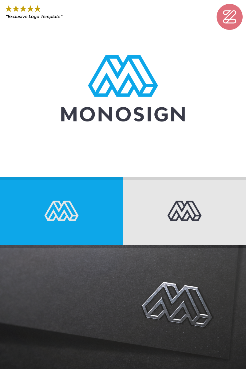 INITIAL LETTER M - MONOSIGN Unika logotyp mall #89038