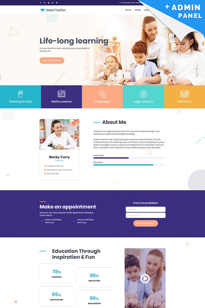 "Modello di Landing Page Responsive #89012 ""Smart Teacher"""