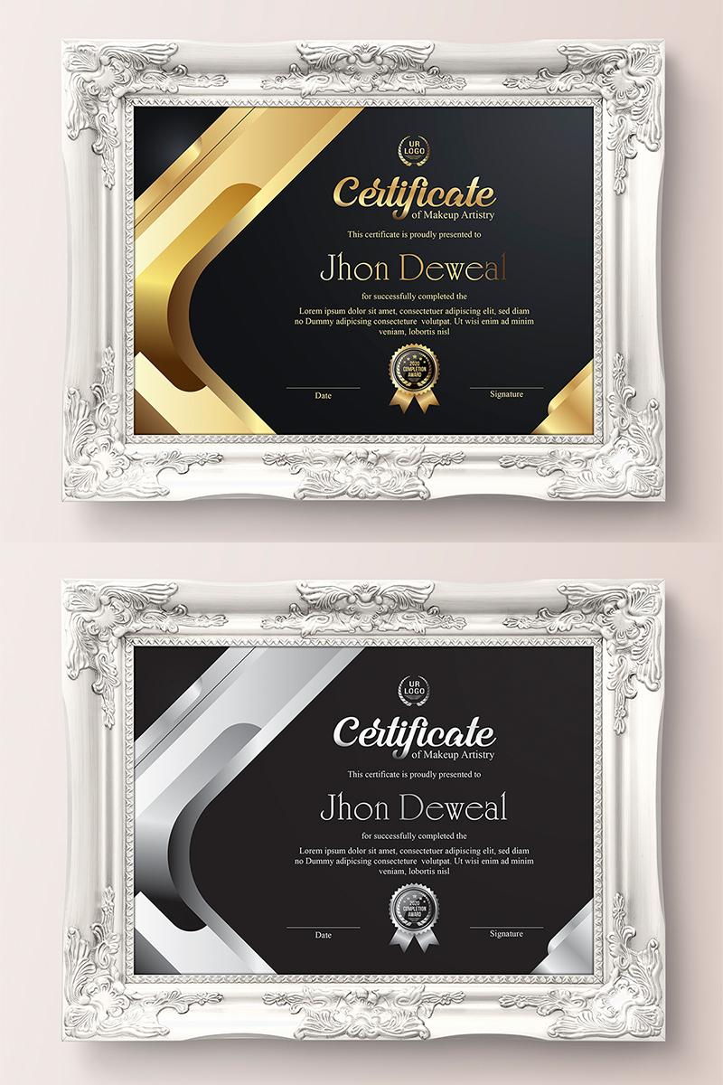 """Plantilla De Certificado """"Gold Elegant & Silver Black"""" #89048 - captura de pantalla"""