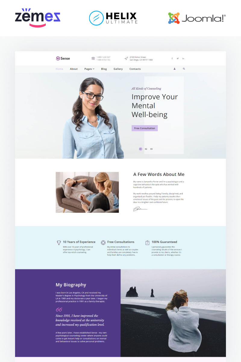 Sense - Psychologist Multipage Clean Template Joomla №89037