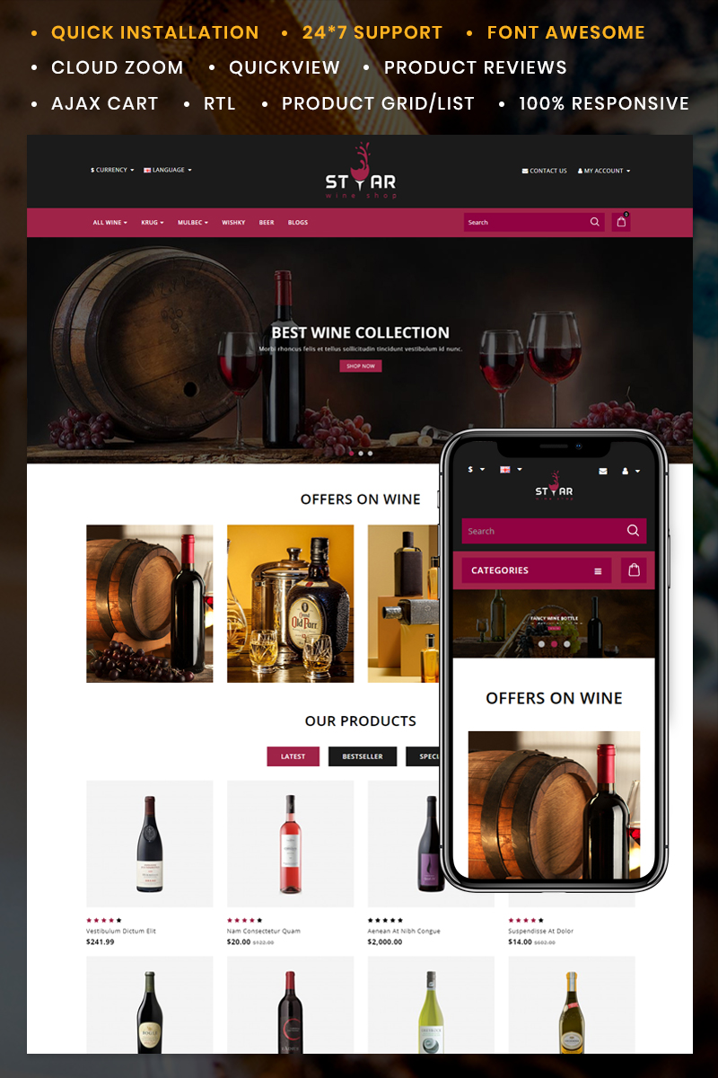 Star Wine Store Template OpenCart №89013