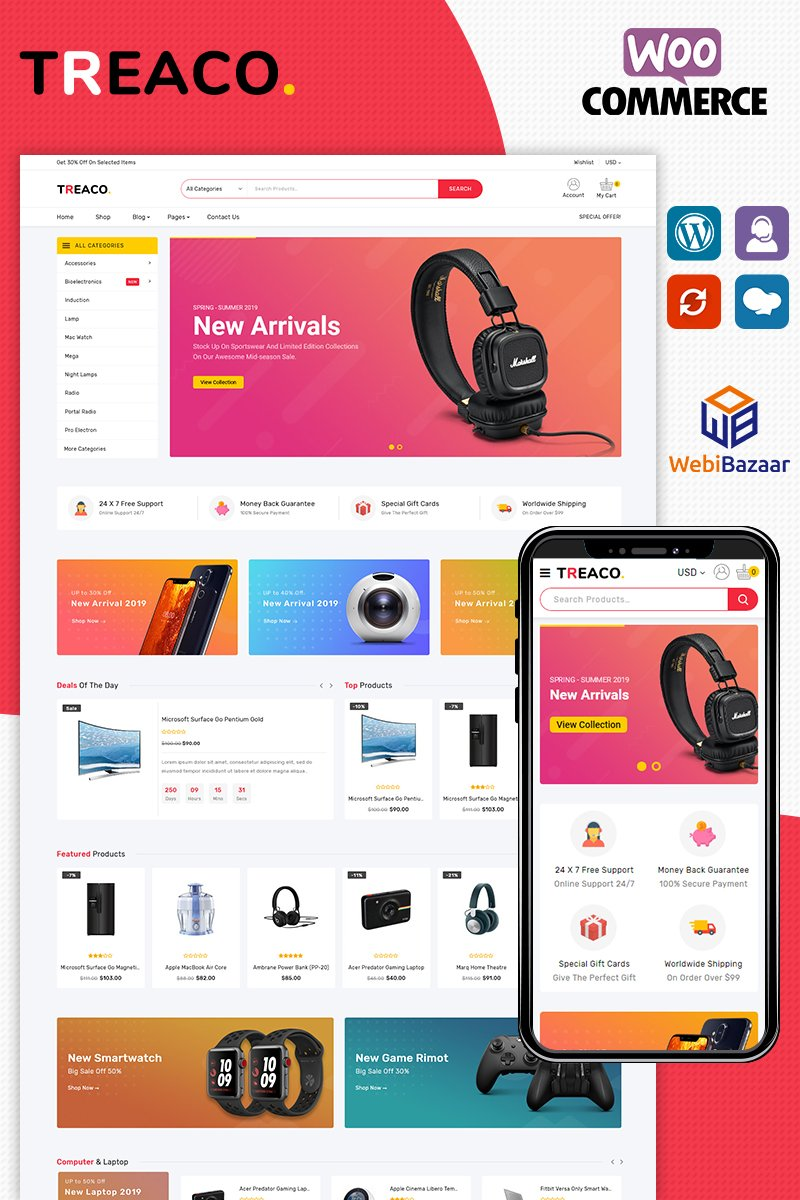 "Tema WooCommerce ""Treaco Electronic"" #89014"