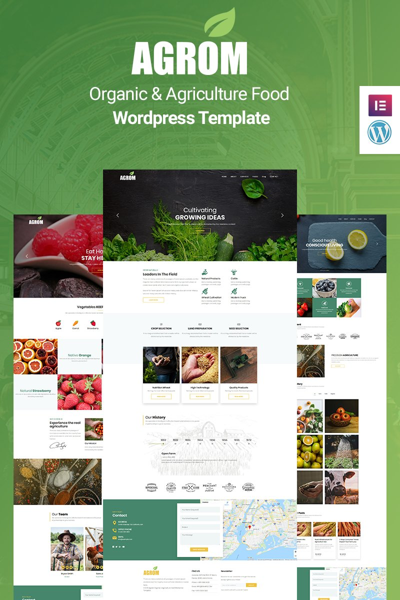 """Agrom - Organic & Agriculture Food"" Responsive WordPress thema №89164"