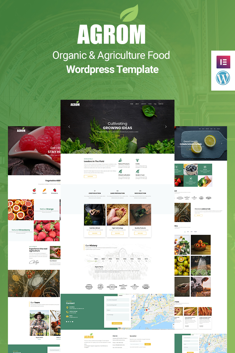 """Agrom - Organic & Agriculture Food"" thème WordPress adaptatif #89164"