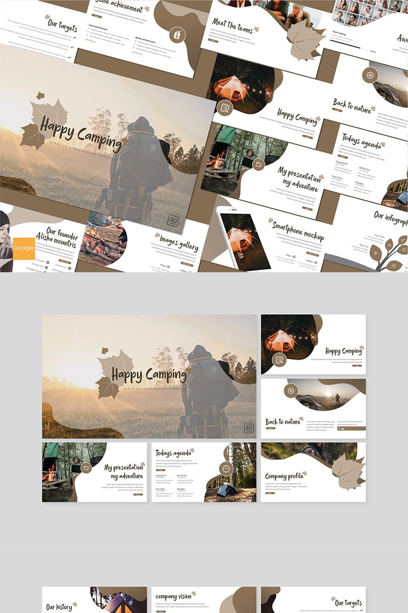 Google Slides Happy Camping #89160