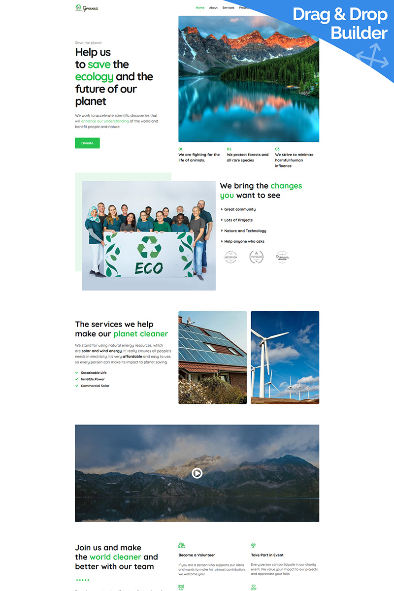 """Greenex - Environment"" Responsive Moto CMS 3 Template №89121"