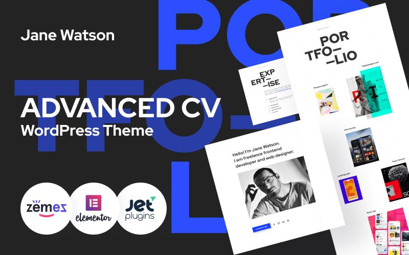 """Jane Watson - Advanced And Reliable CV"" 响应式WordPress模板 #89145"