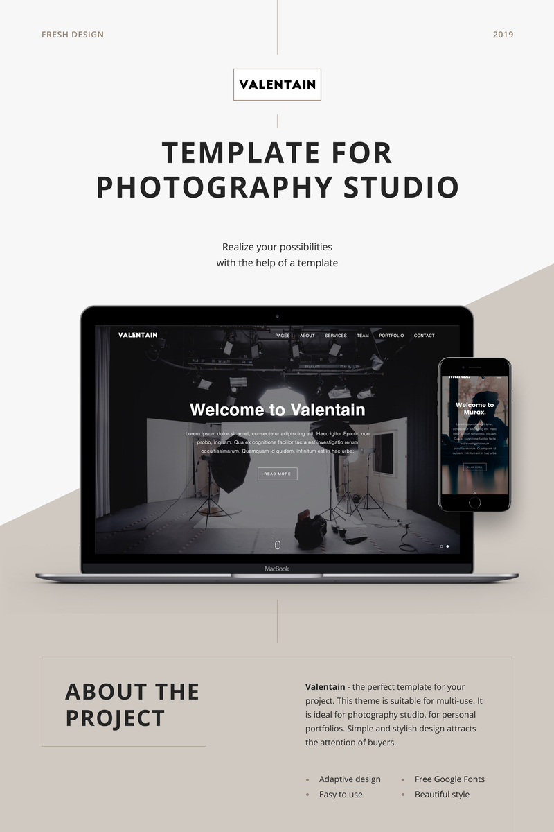 "Landing Page Template namens ""Valentain - Photography Studio"" #89122"