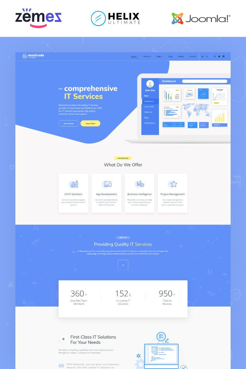 "Modello Joomla Responsive #89162 ""Maxicode - IT Multipage Creative"""