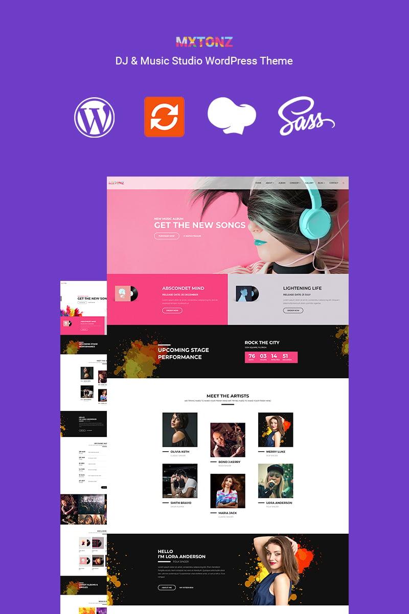 """MxTonz - A DJ & Music Studio"" 响应式WordPress模板 #89123 - 截图"