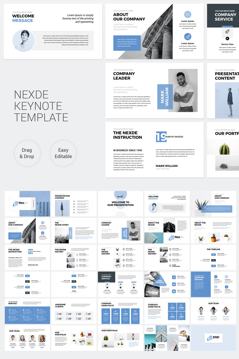 Nexde - Modern Simple clean Business Presentation Keynote Template