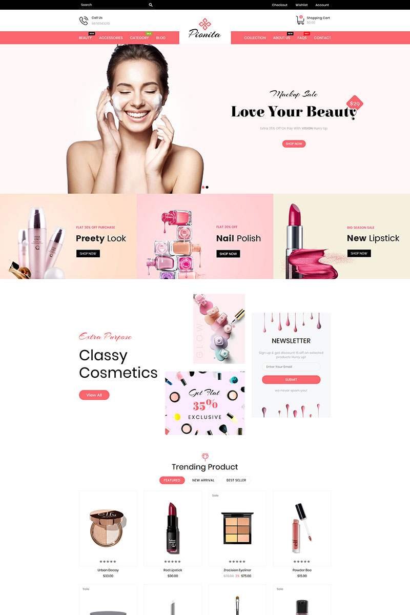 """Pionita Cosmetics"" 响应式Shopify模板 #89163"