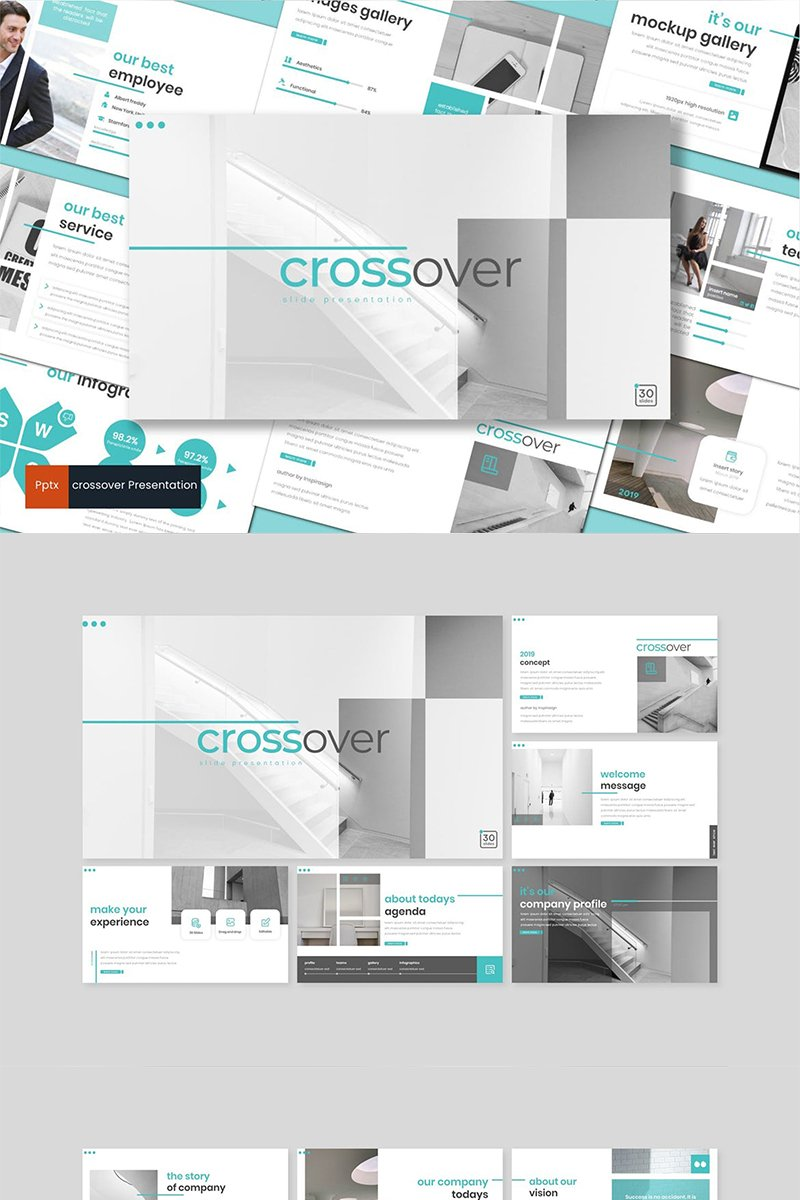 "PowerPoint šablona ""Crossover"" #89139"