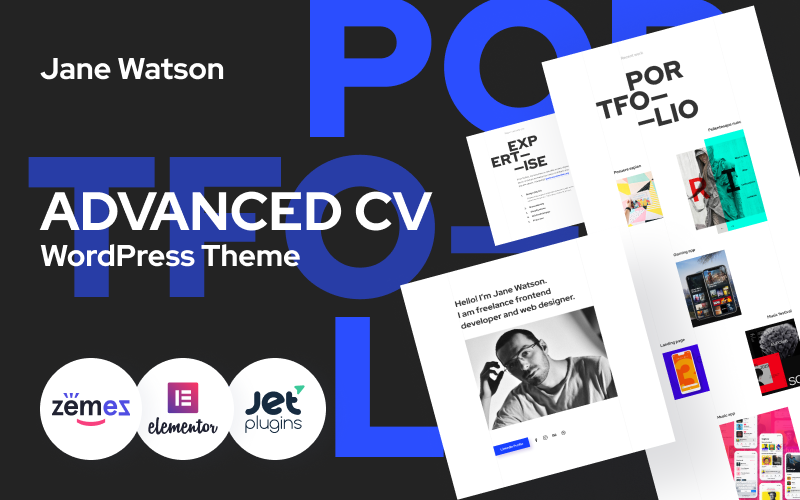 Responsivt Jane Watson - Advanced And Reliable CV WordPress-tema #89145
