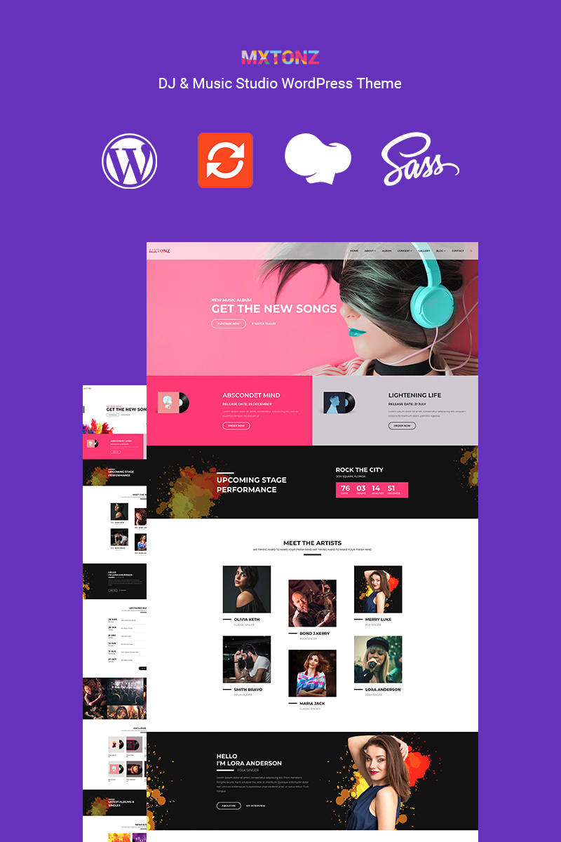 Responsivt MxTonz - A DJ & Music Studio WordPress-tema #89123
