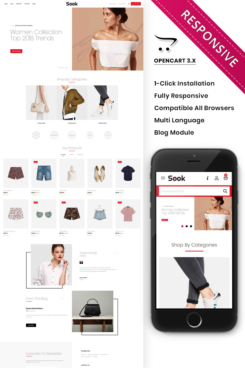 """Sook - The Fashion hub"" thème OpenCart adaptatif #89124"