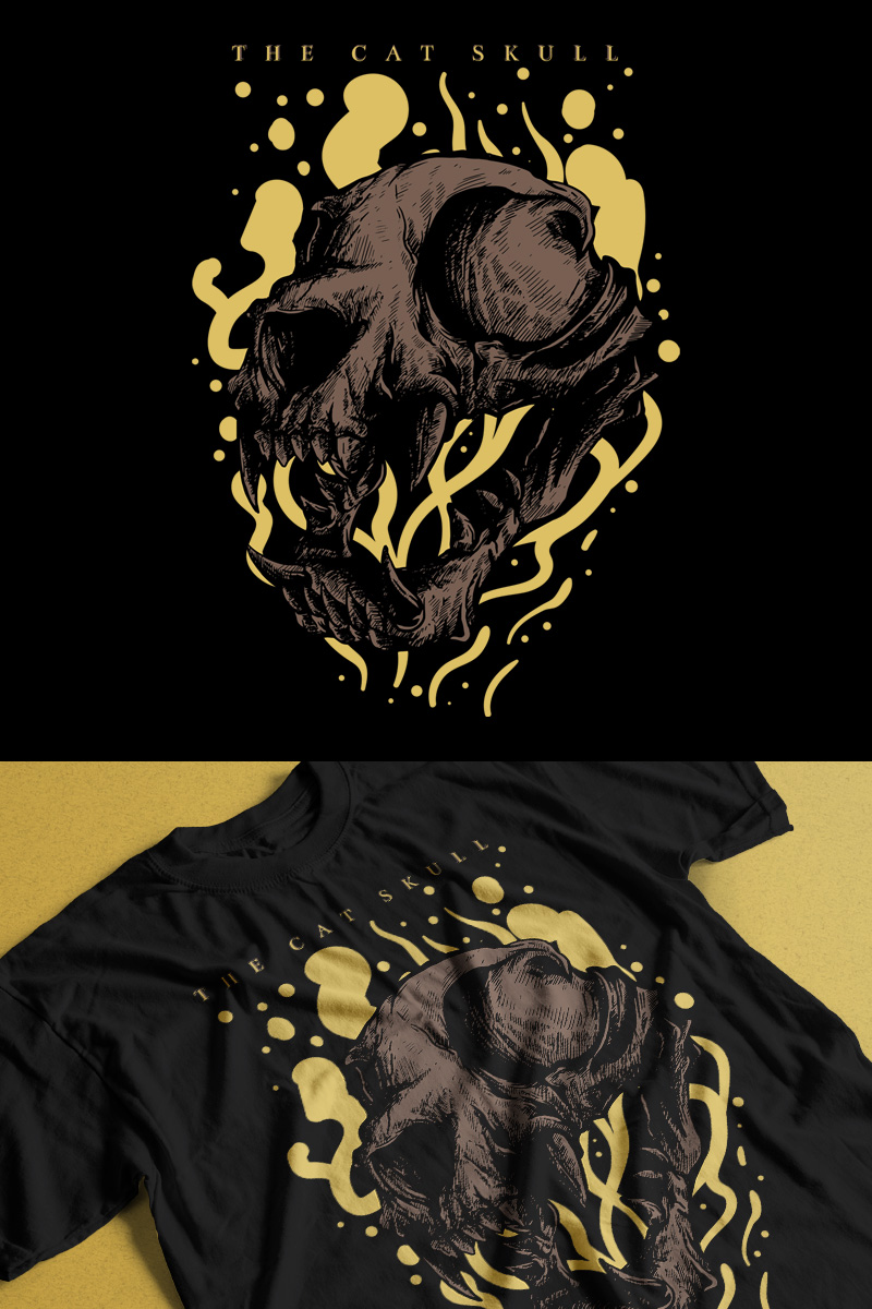 The Cat Skull T-shirt №89191