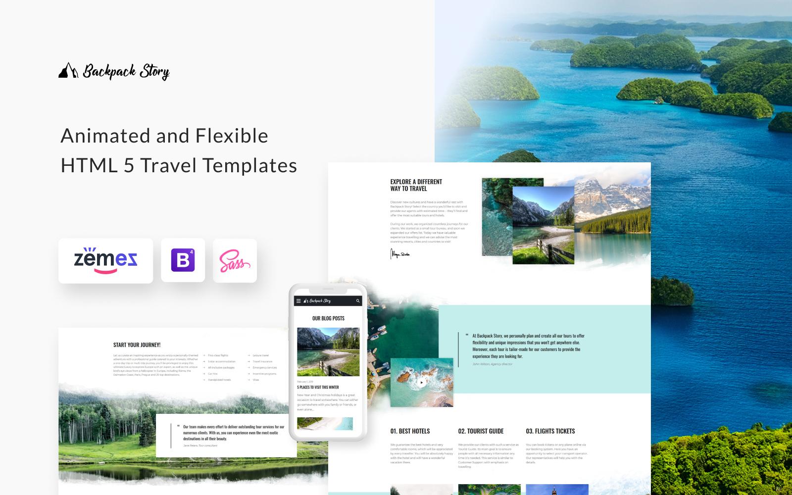 """""""Backpack Story - Online Travel Agency"""" - адаптивний Шаблон сайту №89231"""